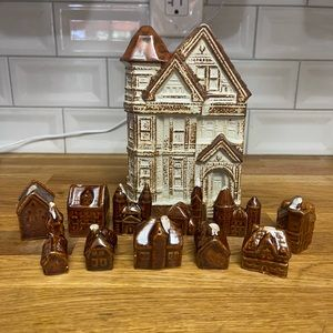 Townhouse Set of 11 Houses Brown and White